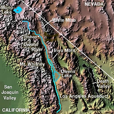 Map of the Owens River in California